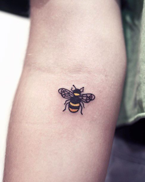 Small Bee Tattoo For Women Inner Elbows