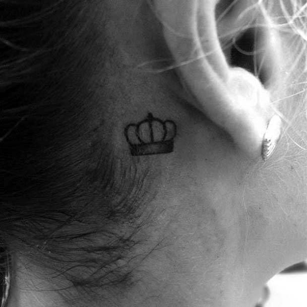 Small Crown Tattoo Womens Ears