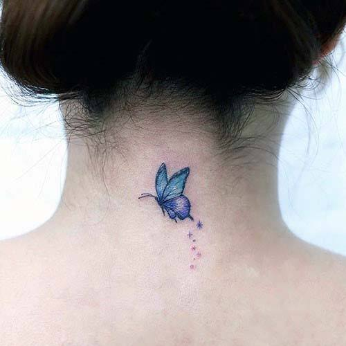 Small Cute Blue Butterfly Tattoo Womens Back