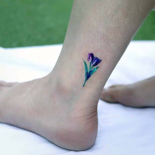 Small Cute Morning Glory In Blue Tattoo Women Ankles Art