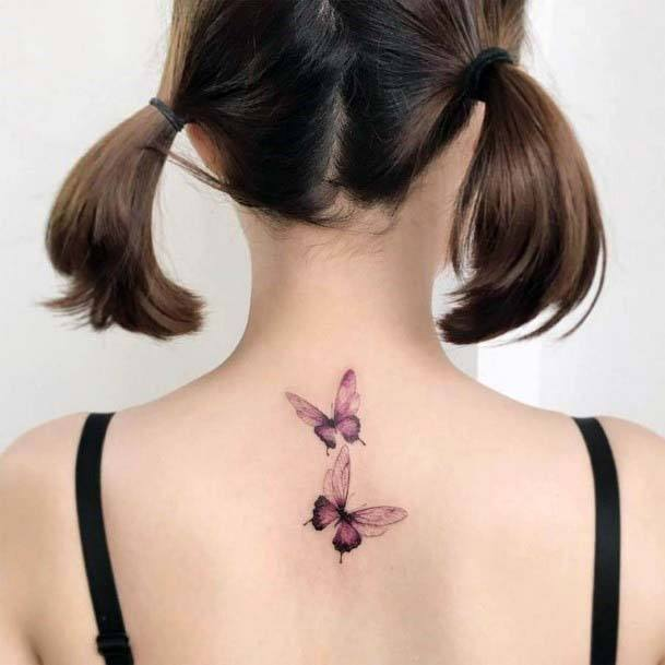 Small Cute Purple Butterfly Pair Tattoo Womens Back