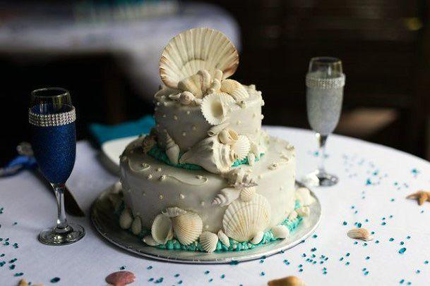 Small Endearing Beach Wedding Cake Women
