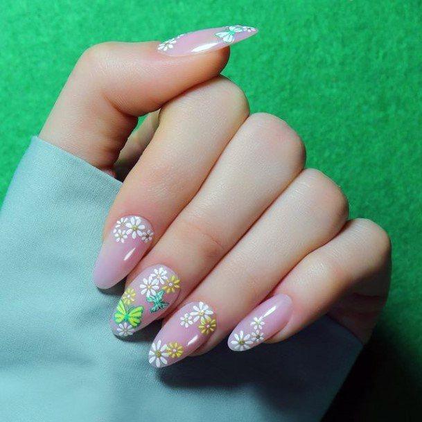 Smattering Of Flowers Romantic Nails Women