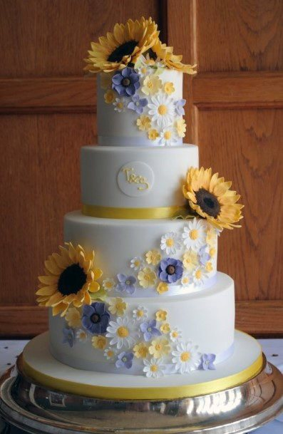 Smattering Of Sunflowers On Womens Wedding Cake