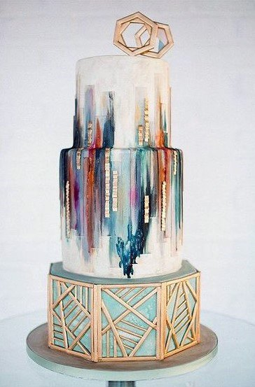 Smeared Paint And Tiled 3 Tier Wedding Cake Women