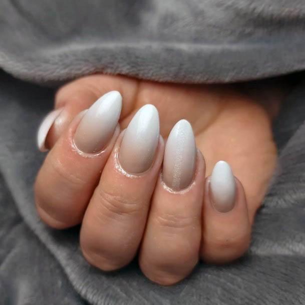 Smoky White Ombre Nails Women