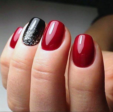 Smooth And Sexy Bright Red Nails With Black Silver Splash Accent For Women