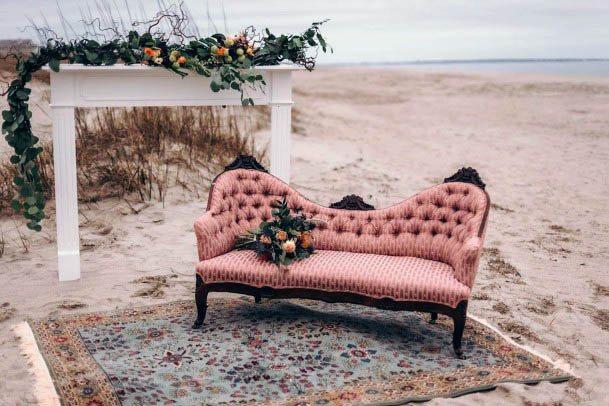 Smooth Beach Wedding Flowers And Sofa