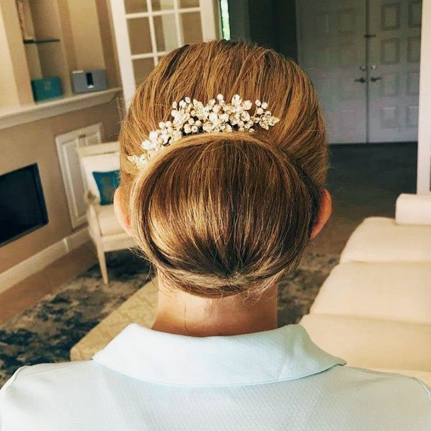 Smooth Decorated Chignon Hairstyle For Women
