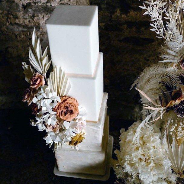 Smooth Edged White Square Wedding Cake
