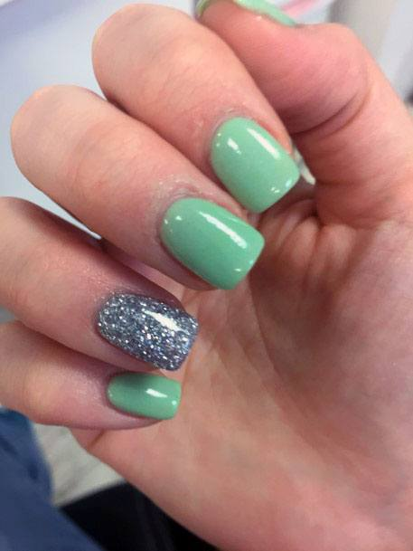 Smooth Mint Nails With Silver Accent For Women