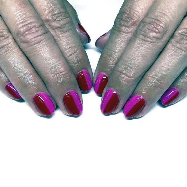 Smooth Rich Pink Red Vertical Design Nails Art For Women