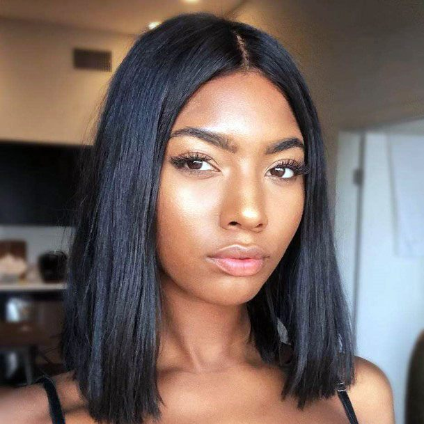Smooth Straight Black Center Part Hair
