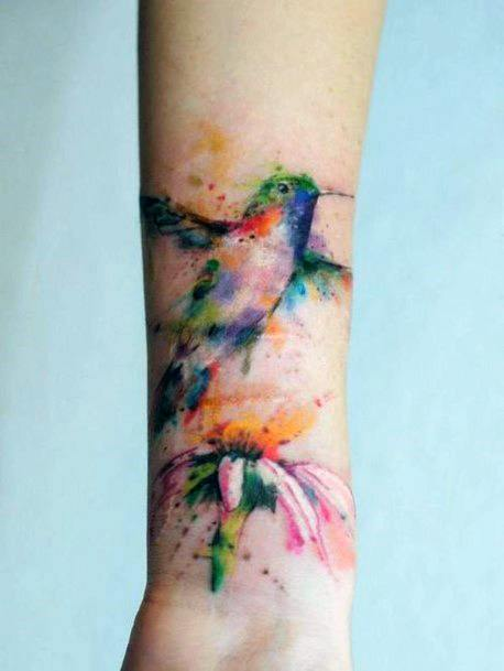 Smudged Painting Of Hummingbird Tattoo Womens Wrists