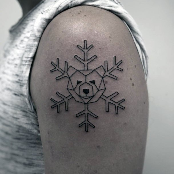 Snow Flake Bear Tattoo For Women Upper Arms