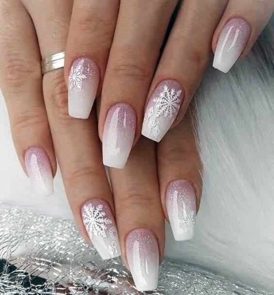 Snow Flakes On White Ombre Nails For Women
