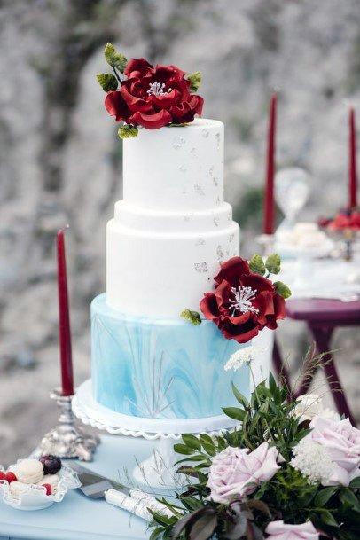 Snow White And Blue Wedding Cake