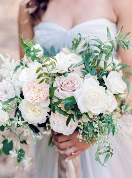 Snow White And Blush Wedding Flowers Bouquet