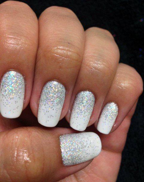 Snow White Nails With Sparkles Women