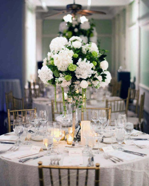 Snow White Toned Hydrangea Flowers Wedding Table Decor