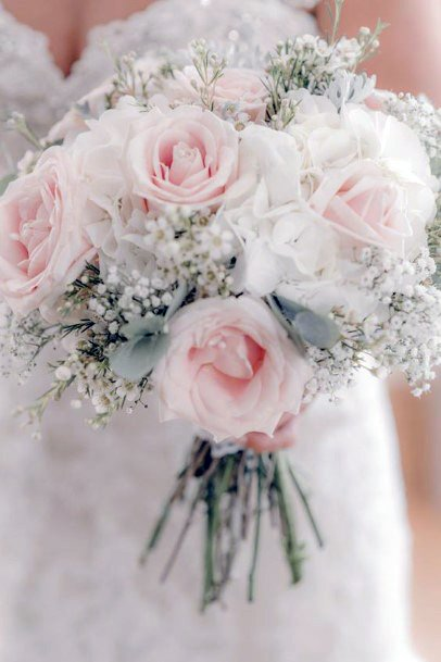 Snowy White And Blush Roses Wedding Flowers