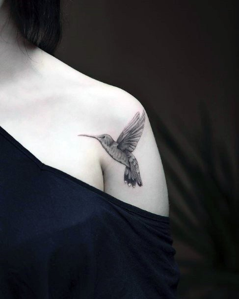 Soft Feathered Grey Hummingbird Tattoo Womens Shoulders