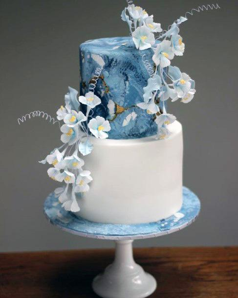 Soft Flowers Blue White Wedding Cake Art