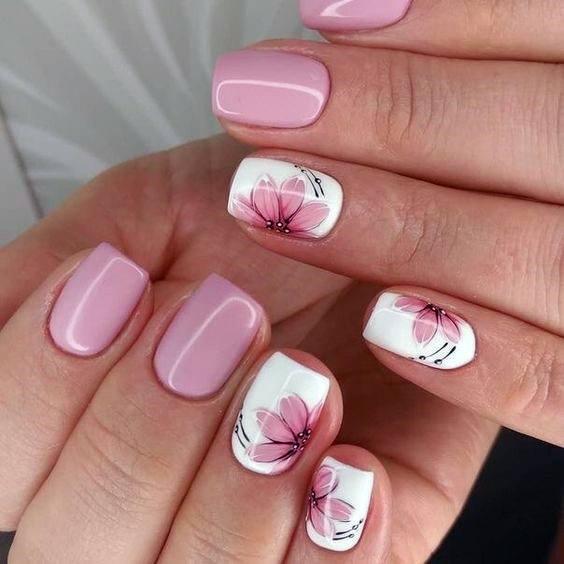 Soft Pink Rose Flowers Romantic Nails Women
