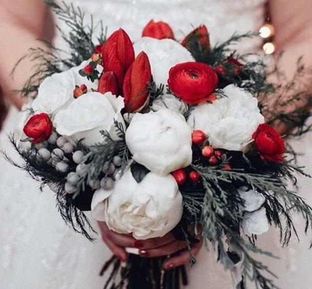 Soft Roses Christmas Wedding Flowers
