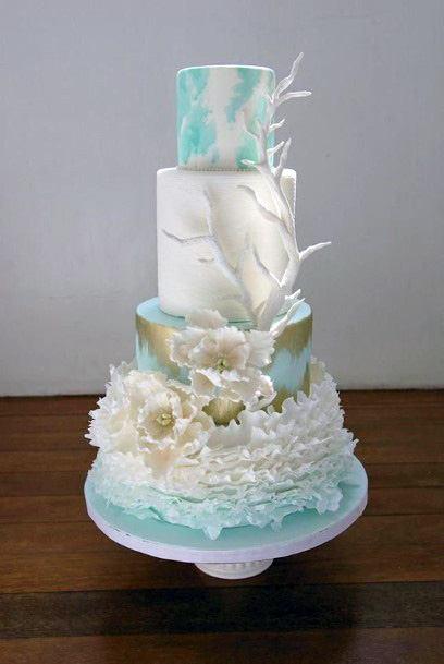 Soft White Beach Wedding Cake For Women