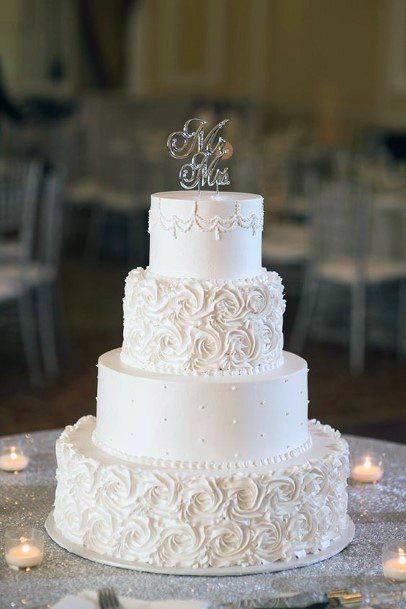 Soft White Elegant Wedding Cakes Women