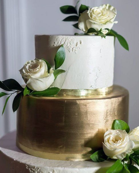 Solid Gold And White Wedding Cake
