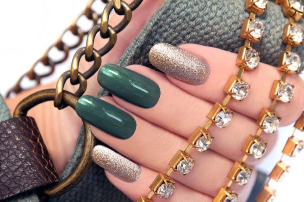 Solid Green And Gold Women Nails