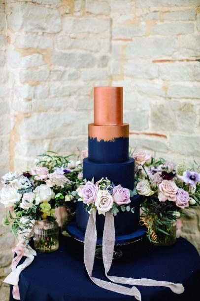 Solid Rose Gold And Blue Royal Wedding Cake
