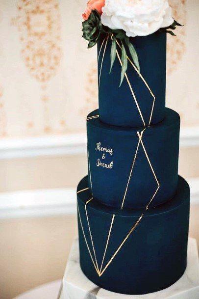 Sophisticated Navy Blue Fondant With Gold Geometric Designs Wedding Cake Ideas