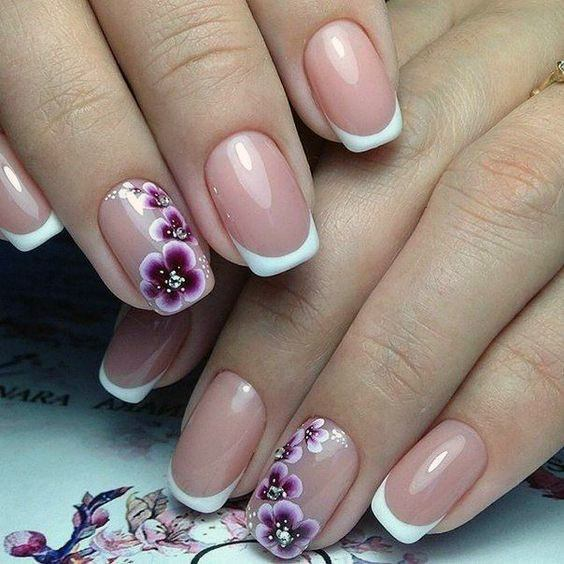 Spa French Manicure With Lavendar Orchid