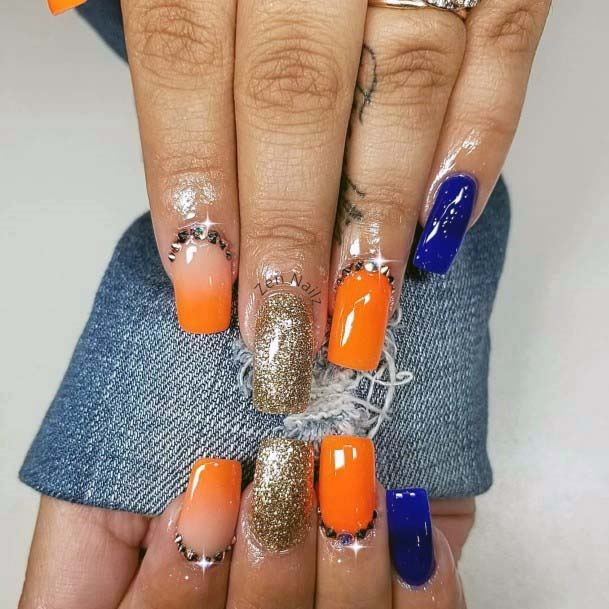Sparkles Orange And Blue Nails For Women