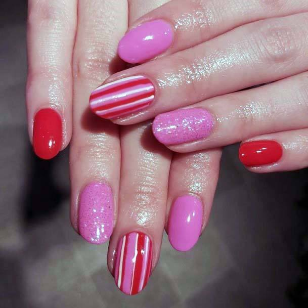 Sparkling Baby Pink And Red Striped Nails For Women