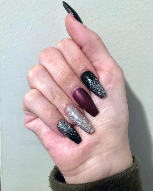Sparkling Black Silver Pink Long Nails Women