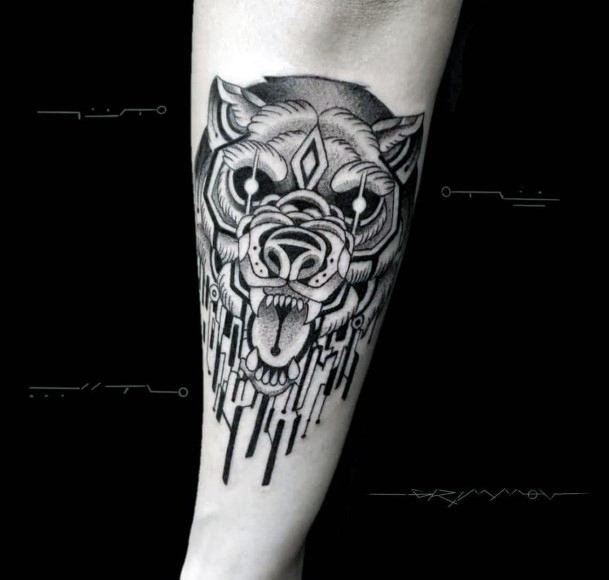 Sparkling Eyes Angry Bear Tattoo For Women