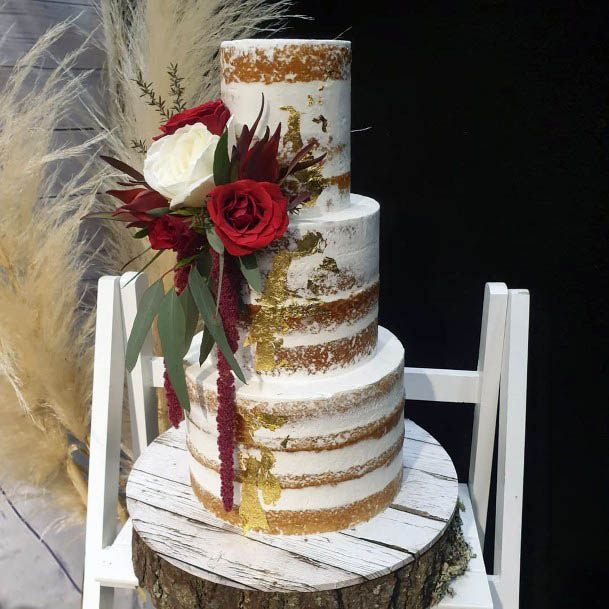 Sparkling Glitters On Cake With Red Flowers Wedding