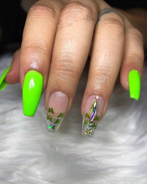 Sparkling Golden Butterflies On Neon Green Nails
