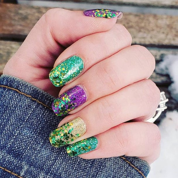 Sparkling Green Gold And Purple Nails Women