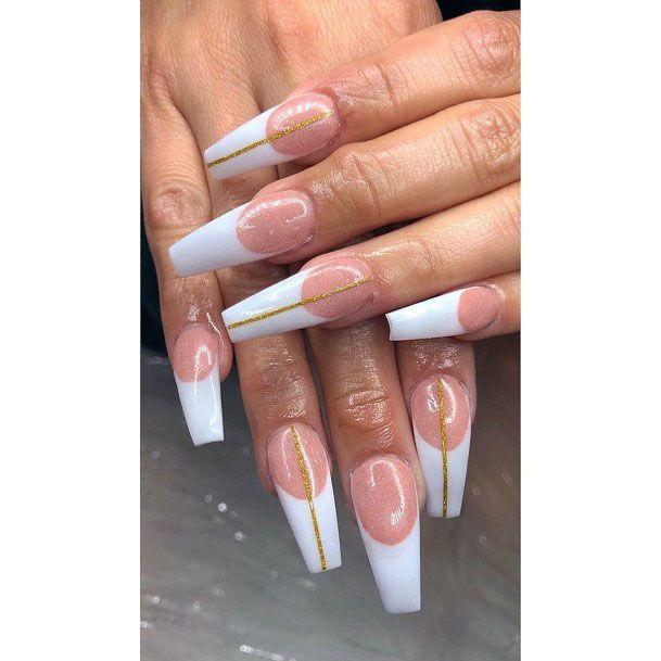 Sparkling Lines Art On White Gel Nails For Women