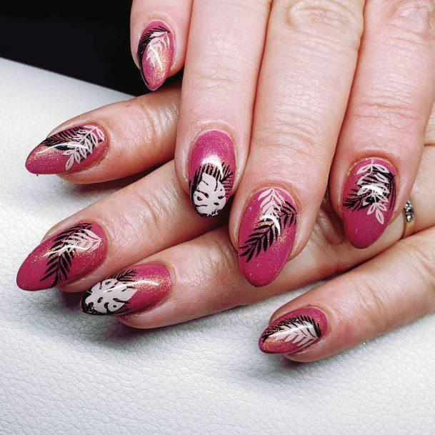 Sparkling Magenta Tropical Nails Women