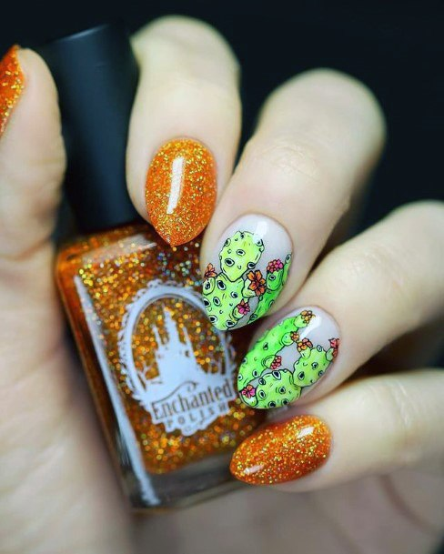 Sparkling Orange Green Cactus Nails Women