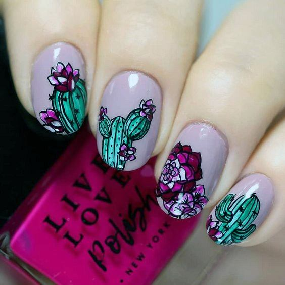 Sparkling Purple And Green Cactus Nails Women