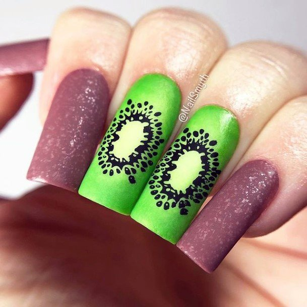 Sparkling Purple And Kiwi Nails Women