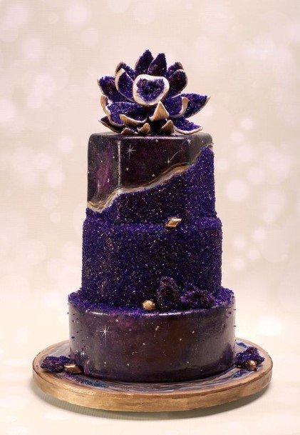 Sparkling Purple Wedding Cake