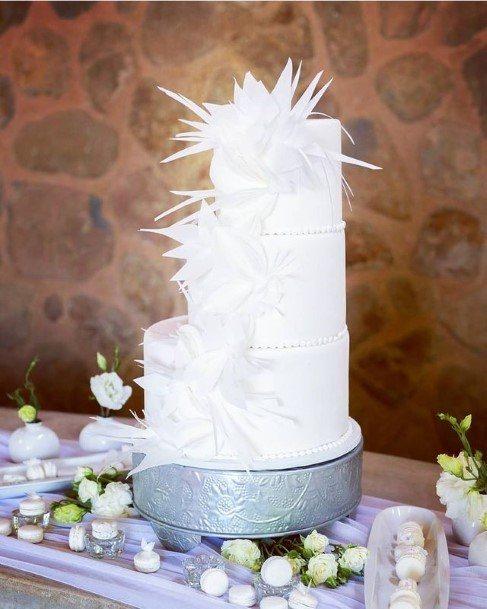 Sparkling White Crystal Cluster Wedding Beautiful Cake